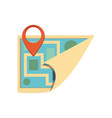 paper map guide with pin location vector image