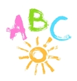 Pattern of letters ABC and the sun hand drawn vector image