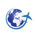 planet with airplane color in blue vector image vector image