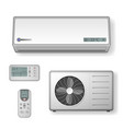 realistic set of air conditioner with cooling and vector image