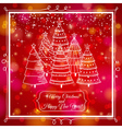 red background with forest of christmas trees vector image vector image