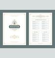 restaurant menu design and logo brochure vector image vector image