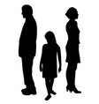 sad child standing between two divorcing parents vector image vector image