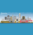samara russia city skyline with color buildings vector image vector image