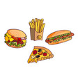 sandwich burger hot dog set vector image vector image