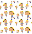 seamless background with boy in many actions vector image vector image