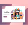 selfie website landing page design template vector image vector image