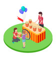 selling popcorn in the park a woman gives a boy vector image vector image