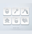 set icons with small house key open closed vector image
