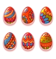 set of cartoon color eggs for Easter vector image vector image