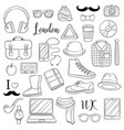 set of graphic elements icons hipster accessories vector image vector image