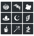 Set of Halloween Icons Pumpkin bat ghost vector image vector image