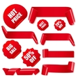 Set of realistic red paper ribbons and discount vector image