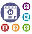 spiral calendar page 14th of may icons set vector image
