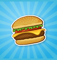 sticker hamburger with cheese tomato and salad vector image
