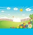 sunny spring landscape vector image vector image