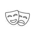 theatre mask icon silhouette drama comedy vector image