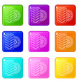tire icons set 9 color collection vector image vector image