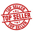 top seller round red grunge stamp vector image vector image