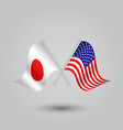 two crossed japanese and american flags vector image vector image