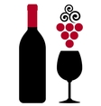 wine bottle with glass and red grape vector image vector image