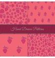 Pink Strawberry Pattern Set vector image