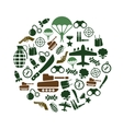 military icons in circle vector image