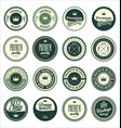 premium quality vintage badges green set vector image
