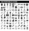 100 portable icons set simple style vector image vector image