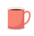a bright red mug regular shape with a hot brown vector image