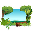 A lion above a trunk at the jungle vector image vector image
