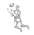 aussie rules football player jumping doodle vector image vector image