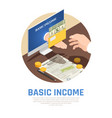 basic income isometric composition vector image