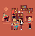 bibliotheca school library interior with student vector image vector image