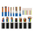 cables and wires electrical power and network vector image
