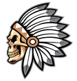 cartoon indian chief skull vector image vector image