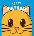 cat cute birthday card vector image vector image