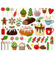 christmas holiday sweets xmas gingerbread cookies vector image