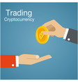 concept of trading cryptocurrency of bitcoin vector image