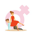 Confident woman in a red dress riding on a man vector image