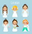 cute cartoon brides princess in wedding dresses vector image vector image