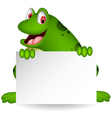 cute frog cartoon with blank sign vector image vector image