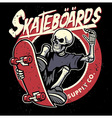 dirty textured of skull skateboarding badge vector image vector image