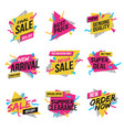 flat design origami labels 4 vector image