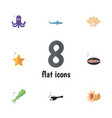 flat icon nature set of octopus tentacle conch vector image vector image