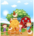 Girls and chickens in the farm vector image vector image