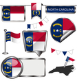 Glossy icons with North Carolinian flag vector image vector image