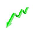 green 3d down arrow financial graph vector image vector image
