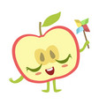 half of apple with windmill toy cute anime vector image vector image