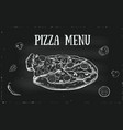 hand drawn pizza menu cover with vegetables vector image